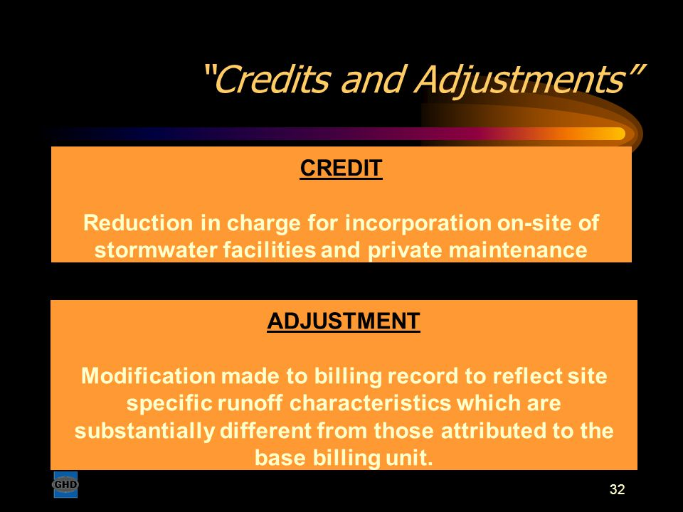 "32 ""Credits and Adjustments"" CREDIT Reduction in charge for incorporation on-site of stormwater facilities and private maintenance ADJUSTMENT Modifica"