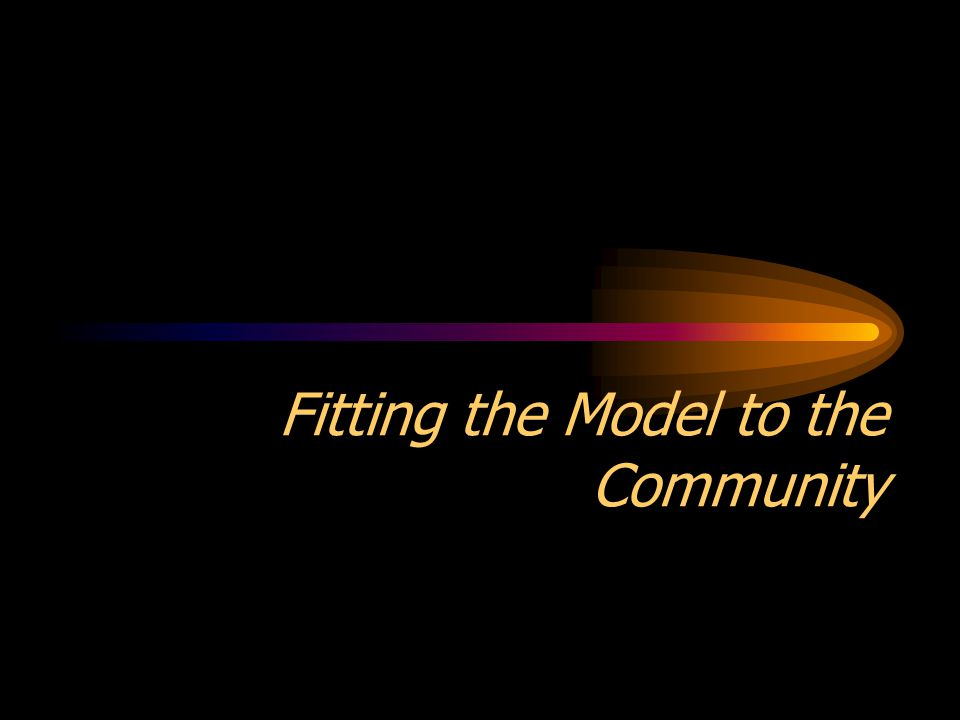 Fitting the Model to the Community
