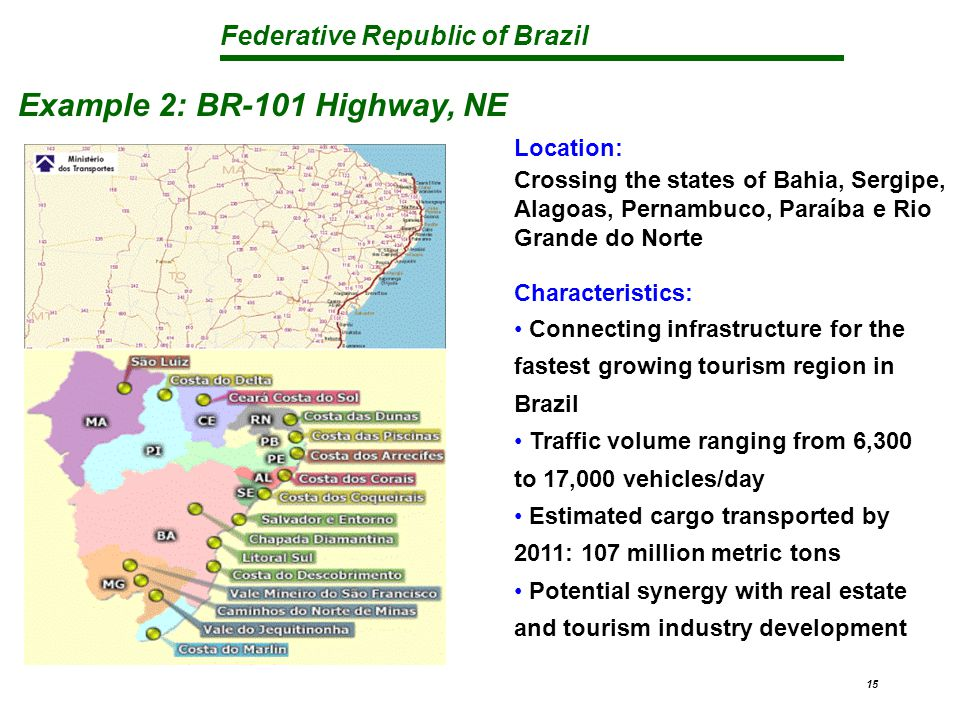 Federative Republic of Brazil 15 Example 2: BR-101 Highway, NE Location: Crossing the states of Bahia, Sergipe, Alagoas, Pernambuco, Paraíba e Rio Grande do Norte Characteristics: Connecting infrastructure for the fastest growing tourism region in Brazil Traffic volume ranging from 6,300 to 17,000 vehicles/day Estimated cargo transported by 2011: 107 million metric tons Potential synergy with real estate and tourism industry development