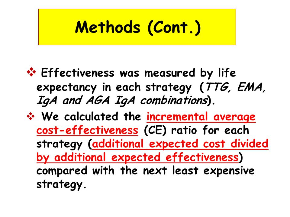 Methods (Cont.)  Effectiveness was measured by life expectancy in each strategy (TTG, EMA, IgA and AGA IgA combinations).