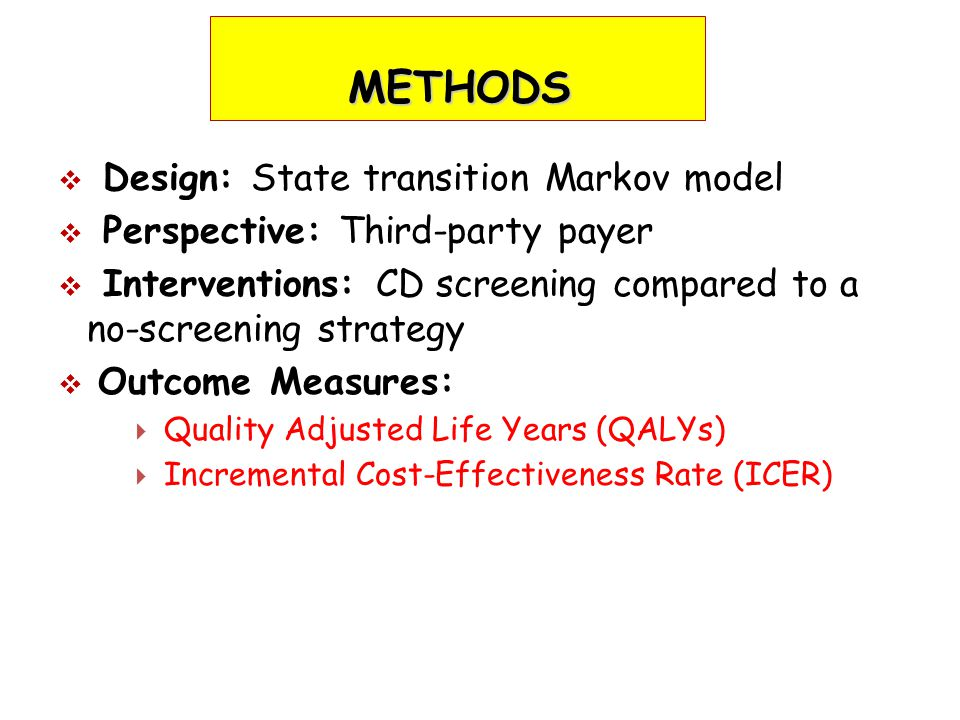 METHODS  Design: State transition Markov model  Perspective: Third-party payer  Interventions: CD screening compared to a no-screening strategy  Outcome Measures:  Quality Adjusted Life Years (QALYs)  Incremental Cost-Effectiveness Rate (ICER)