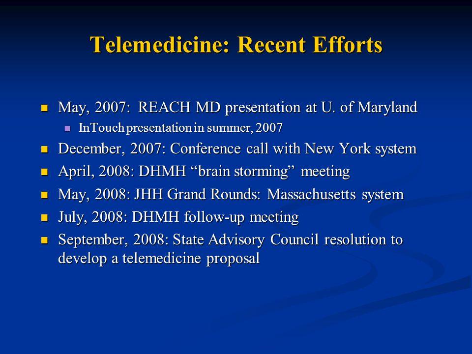 Telemedicine: Recent Efforts May, 2007: REACH MD presentation at U.