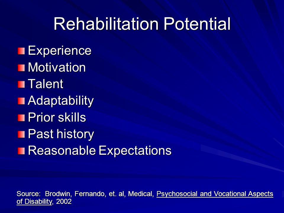 Rehabilitation Potential ExperienceMotivationTalentAdaptability Prior skills Past history Reasonable Expectations Source: Brodwin, Fernando, et.