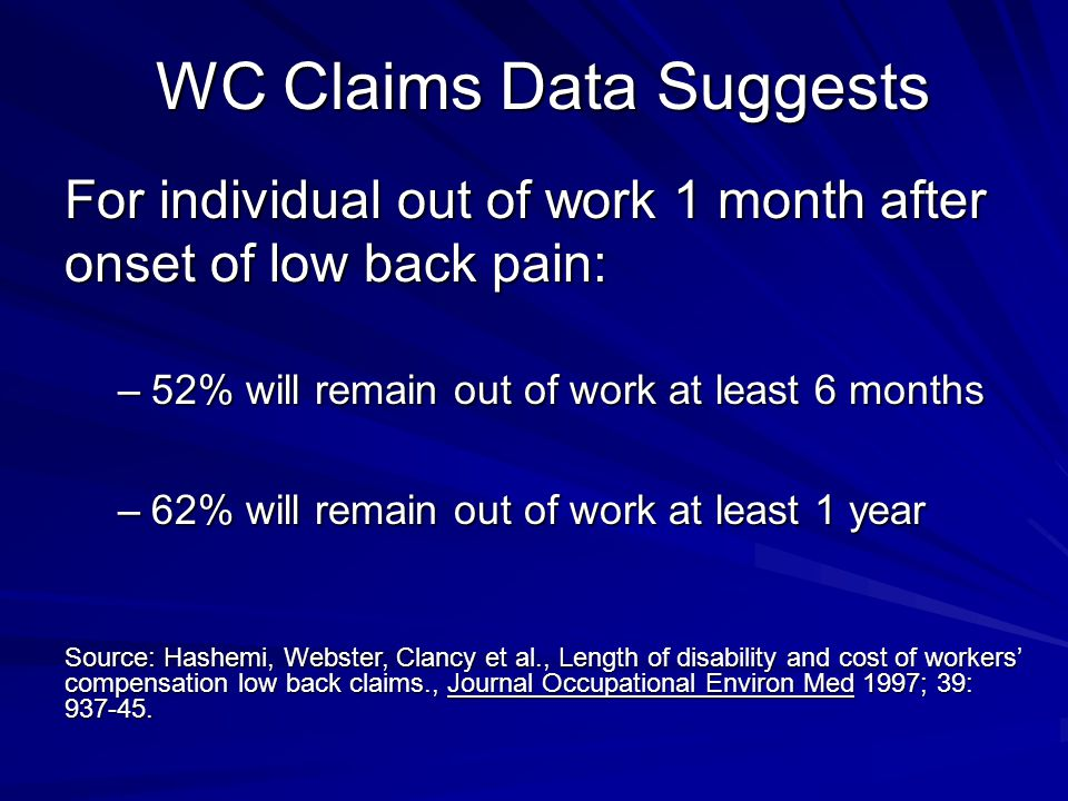 WC Claims Data Suggests For individual out of work 1 month after onset of low back pain: –52% will remain out of work at least 6 months –62% will remain out of work at least 1 year Source: Hashemi, Webster, Clancy et al., Length of disability and cost of workers' compensation low back claims., Journal Occupational Environ Med 1997; 39: 937-45.