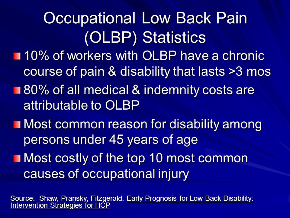 Occupational Low Back Pain (OLBP) Statistics 10% of workers with OLBP have a chronic course of pain & disability that lasts >3 mos 80% of all medical & indemnity costs are attributable to OLBP Most common reason for disability among persons under 45 years of age Most costly of the top 10 most common causes of occupational injury Source: Shaw, Pransky, Fitzgerald, Early Prognosis for Low Back Disability: Intervention Strategies for HCP