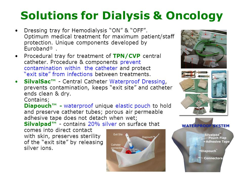Solutions for Dialysis & Oncology Dressing tray for Hemodialysis ON & OFF .