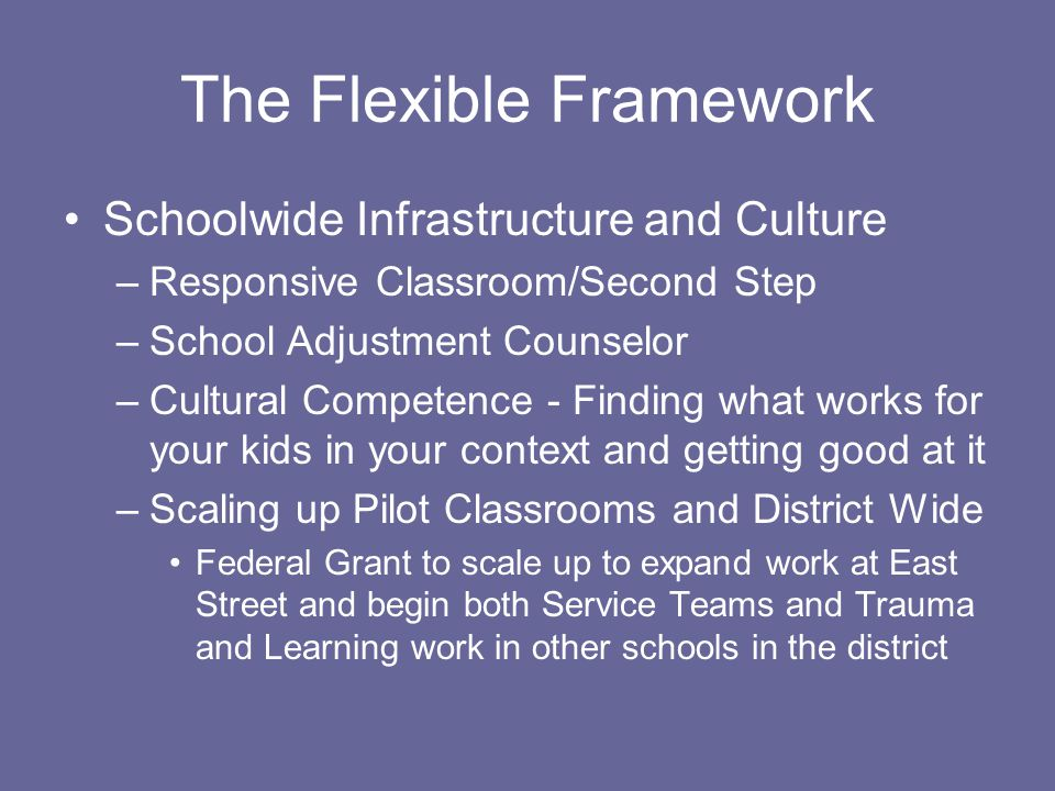 The Flexible Framework Schoolwide Infrastructure and Culture –Responsive Classroom/Second Step –School Adjustment Counselor –Cultural Competence - Finding what works for your kids in your context and getting good at it –Scaling up Pilot Classrooms and District Wide Federal Grant to scale up to expand work at East Street and begin both Service Teams and Trauma and Learning work in other schools in the district