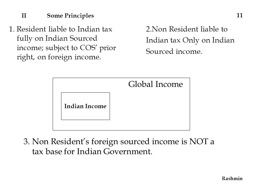 3. Non Resident's foreign sourced income is NOT a tax base for Indian Government.