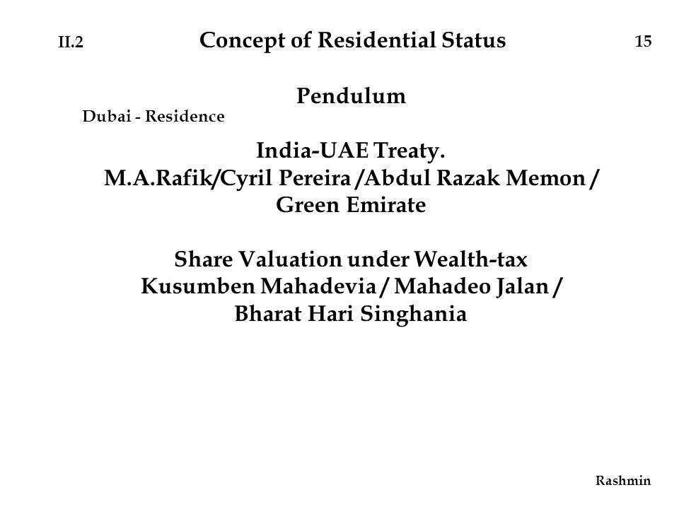Rashmin 15 Pendulum India-UAE Treaty.