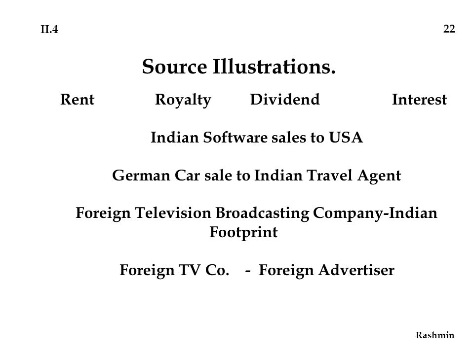 RentRoyaltyDividendInterest Indian Software sales to USA German Car sale to Indian Travel Agent Foreign Television Broadcasting Company-Indian Footprint Foreign TV Co.