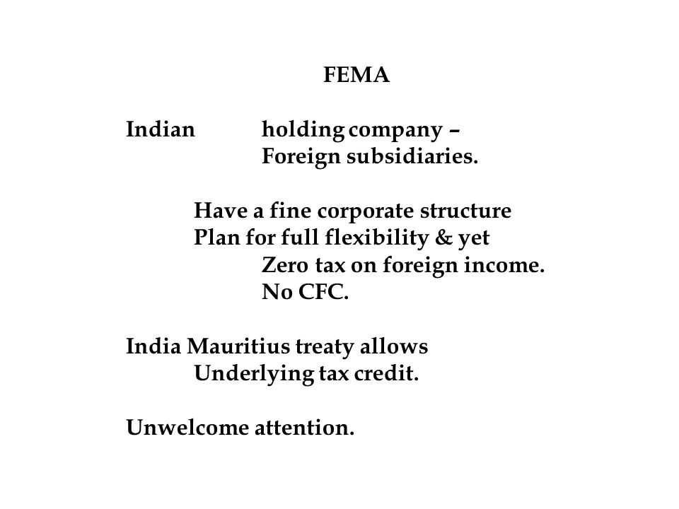 FEMA Indian holding company – Foreign subsidiaries.