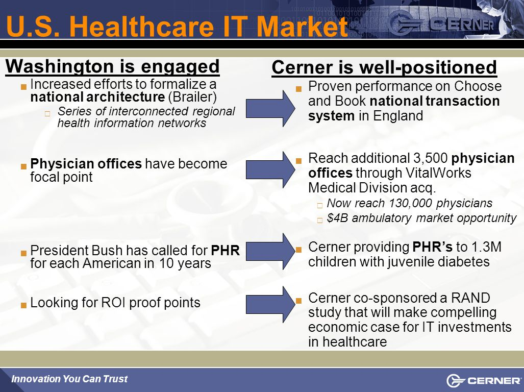 Innovation You Can Trust Market Leadership: Delivering CPOE Accelerated delivery of CPOE in 2004  378 live locations  65 acute care ( more than double 2003 levels )  313 physician office/clinic KLAS Recognition  Cerner Millennium PowerChart highest rated solution in the CDR, Orders, & Charting category  'Primary/Detail indicators', January 2005  Top CPOE choice for third year in a row when respondents asked first choice if they could 'start fresh today'