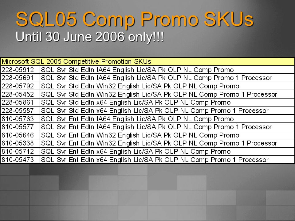 SQL05 Comp Promo SKUs Until 30 June 2006 only!!!