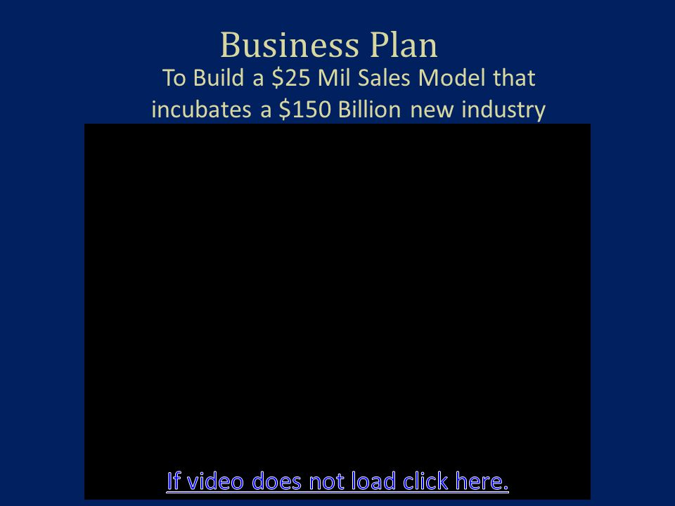 Business Plan To Build a $25 Mil Sales Model that incubates a $150 Billion new industry