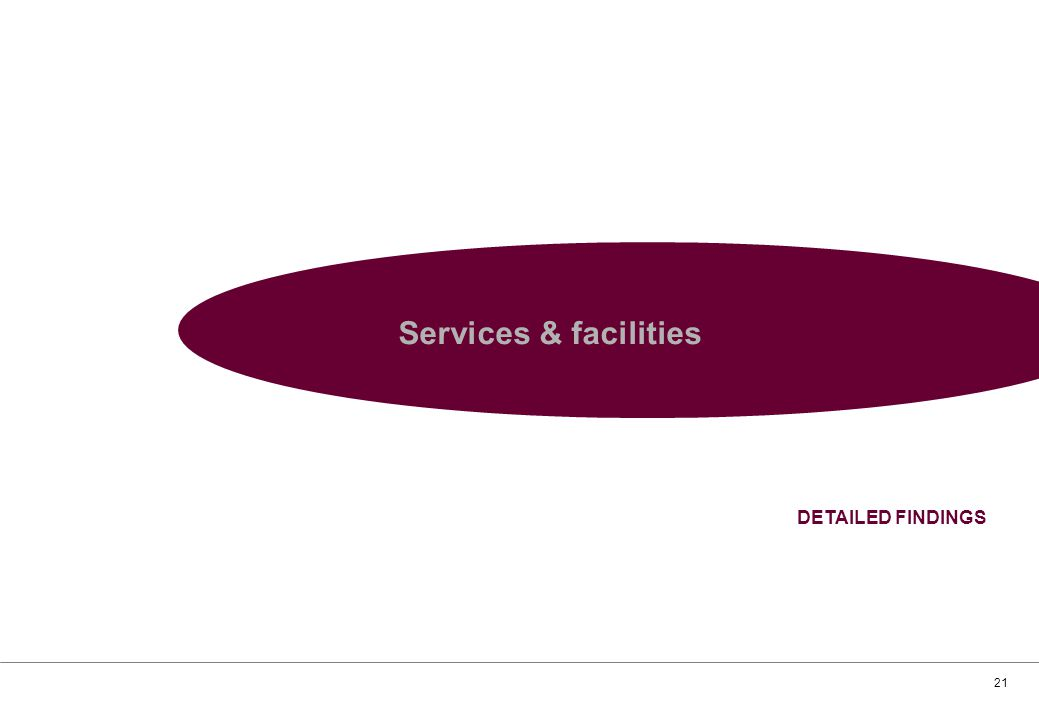 21 Services & facilities DETAILED FINDINGS