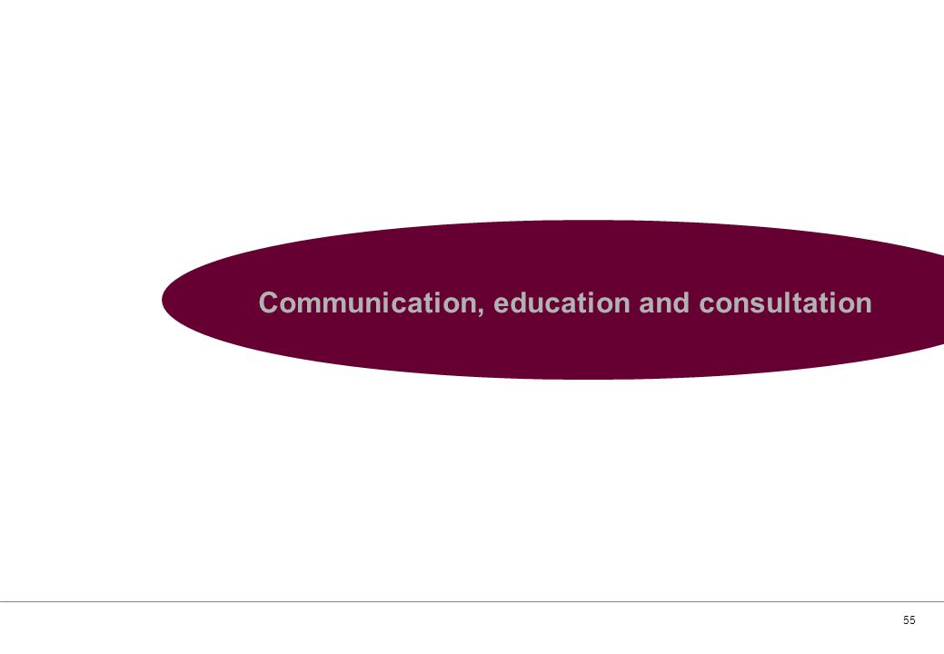 55 Communication, education and consultation