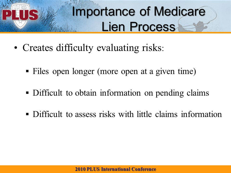 2010 PLUS International Conference Creates difficulty evaluating risks :  Files open longer (more open at a given time)  Difficult to obtain information on pending claims  Difficult to assess risks with little claims information Importance of Medicare Lien Process