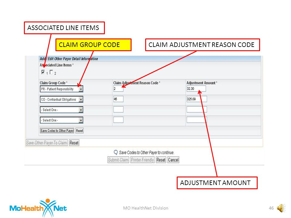 MO HealthNet Division45 ASSOCIATED LINE ITEMS CLAIM GROUP CODECLAIM ADJUSTMENT REASON CODE ADJUSTMENT AMOUNT