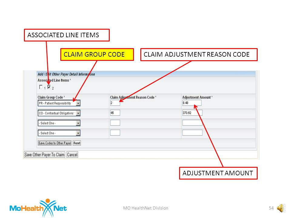 MO HealthNet Division53 ASSOCIATED LINE ITEMS CLAIM GROUP CODECLAIM ADJUSTMENT REASON CODE ADJUSTMENT AMOUNT