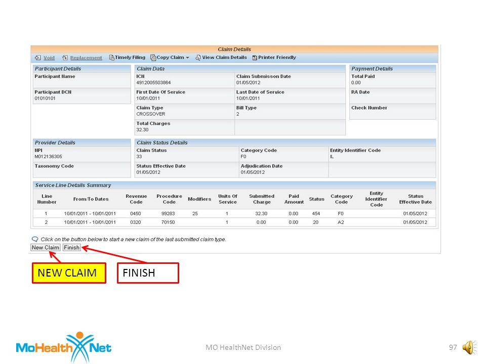MO HealthNet Division96 CLAIM RECEIVEDCOPY CLAIMPAYMENT DETAILS