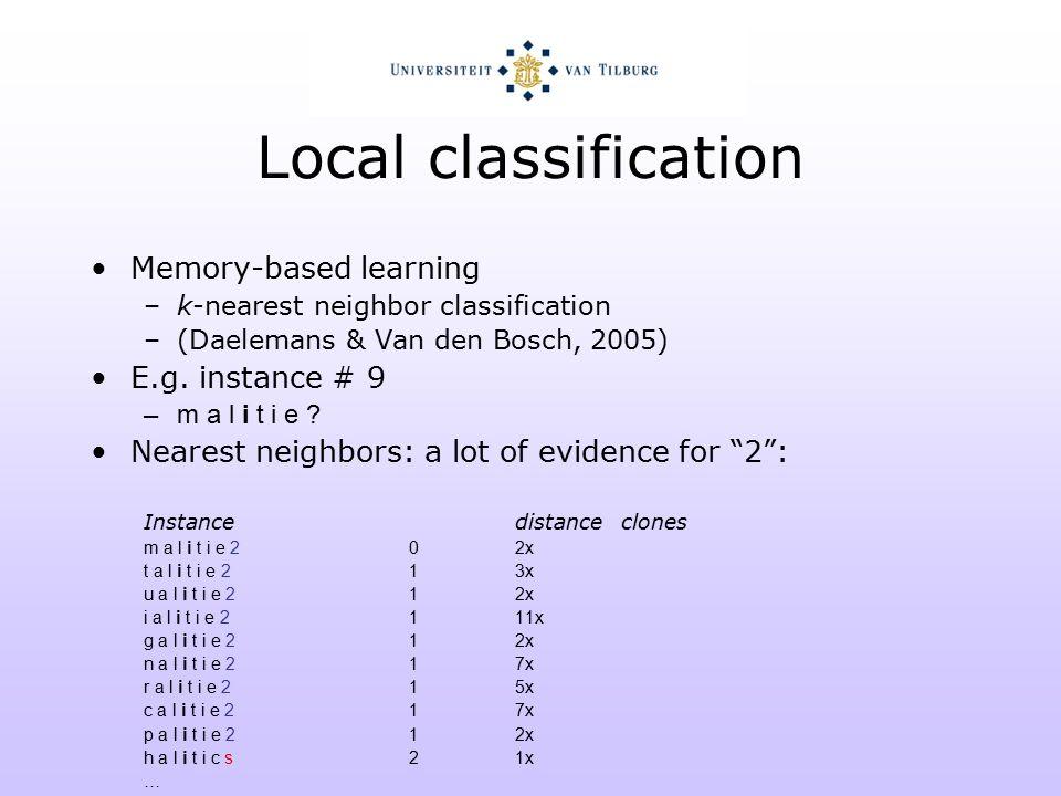 Local classification Memory-based learning –k-nearest neighbor classification –(Daelemans & Van den Bosch, 2005) E.g.