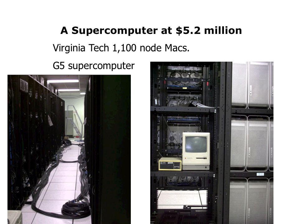A Supercomputer at $5.2 million Virginia Tech 1,100 node Macs. G5 supercomputer