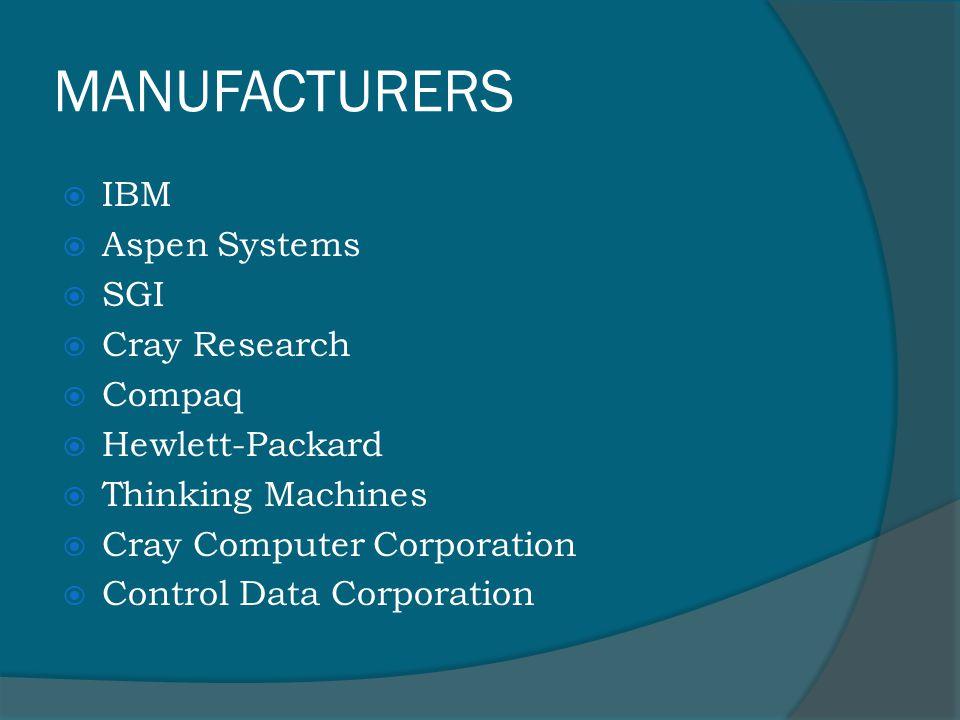 MANUFACTURERS  IBM  Aspen Systems  SGI  Cray Research  Compaq  Hewlett-Packard  Thinking Machines  Cray Computer Corporation  Control Data Corporation