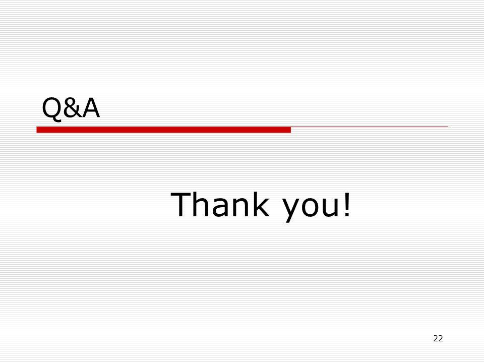 22 Q&A Thank you!