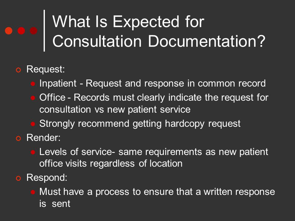 What Is Expected for Consultation Documentation.