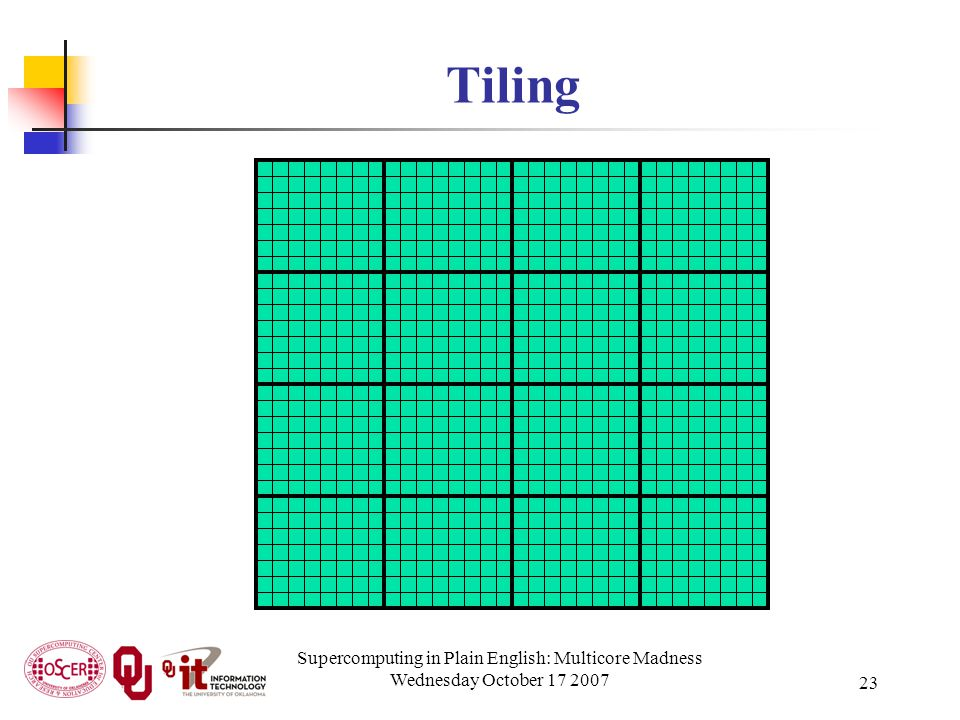 Supercomputing in Plain English: Multicore Madness Wednesday October 17 2007 23 Tiling