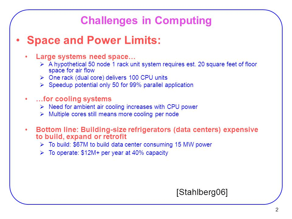 2 Challenges in Computing Space and Power Limits: Large systems need space…  A hypothetical 50 node 1 rack unit system requires est.