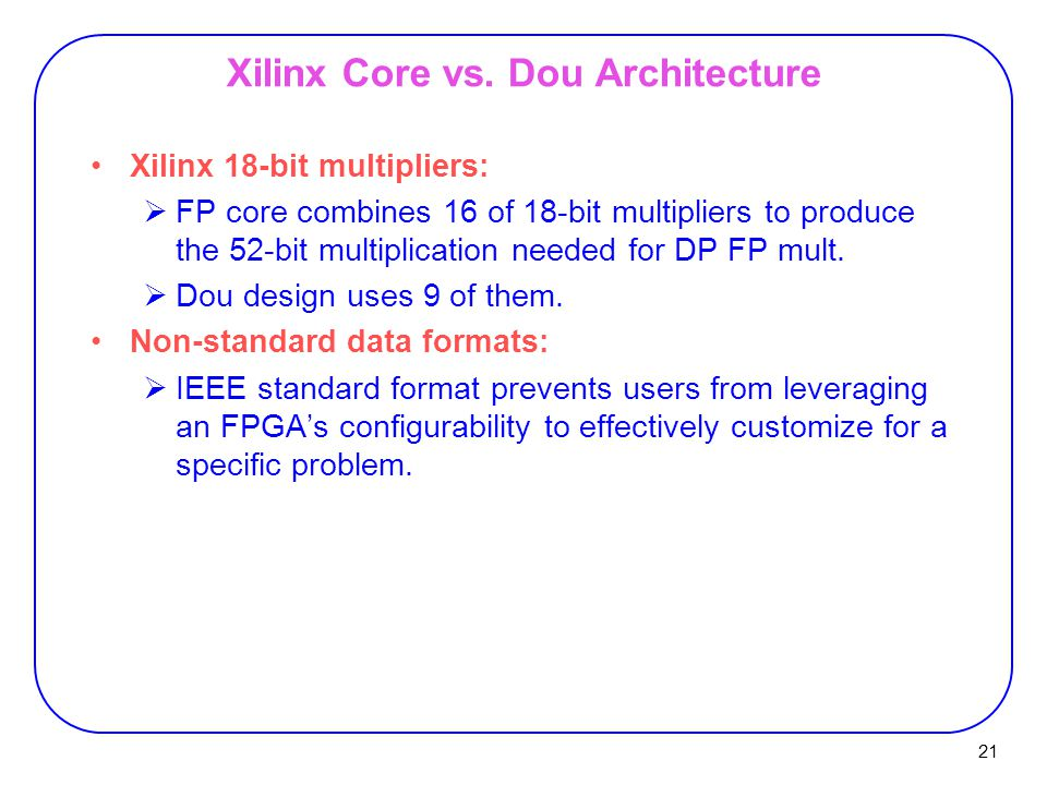 21 Xilinx Core vs.