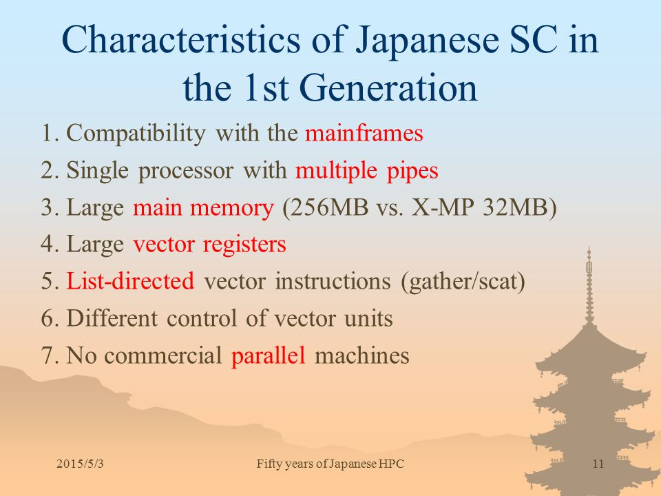 2015/5/311 Characteristics of Japanese SC in the 1st Generation 1. Compatibility with the mainframes 2. Single processor with multiple pipes 3. Large
