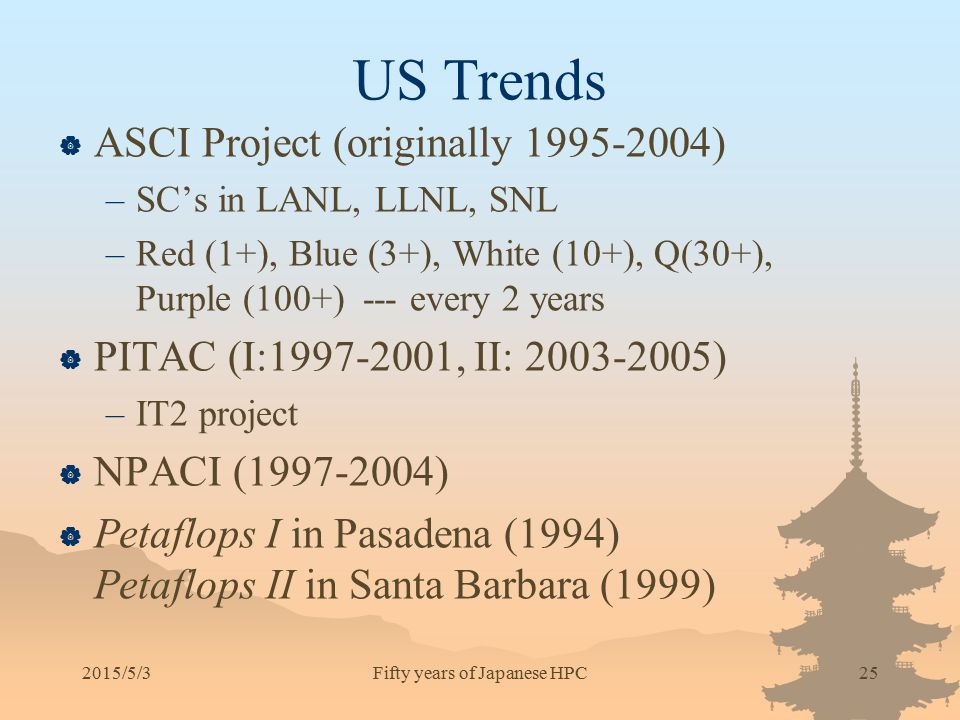 US Trends  ASCI Project (originally 1995-2004) –SC's in LANL, LLNL, SNL –Red (1+), Blue (3+), White (10+), Q(30+), Purple (100+) --- every 2 years 
