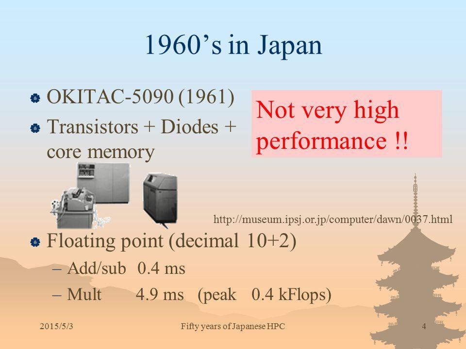 1960's in Japan  OKITAC-5090 (1961)  Transistors + Diodes + core memory  Floating point (decimal 10+2) –Add/sub 0.4 ms –Mult 4.9 ms (peak 0.4 kFlop