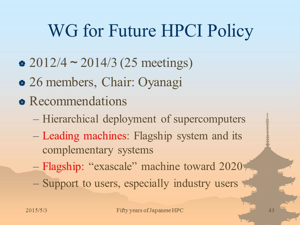 WG for Future HPCI Policy  2012/4 ~ 2014/3 (25 meetings)  26 members, Chair: Oyanagi  Recommendations –Hierarchical deployment of supercomputers –L