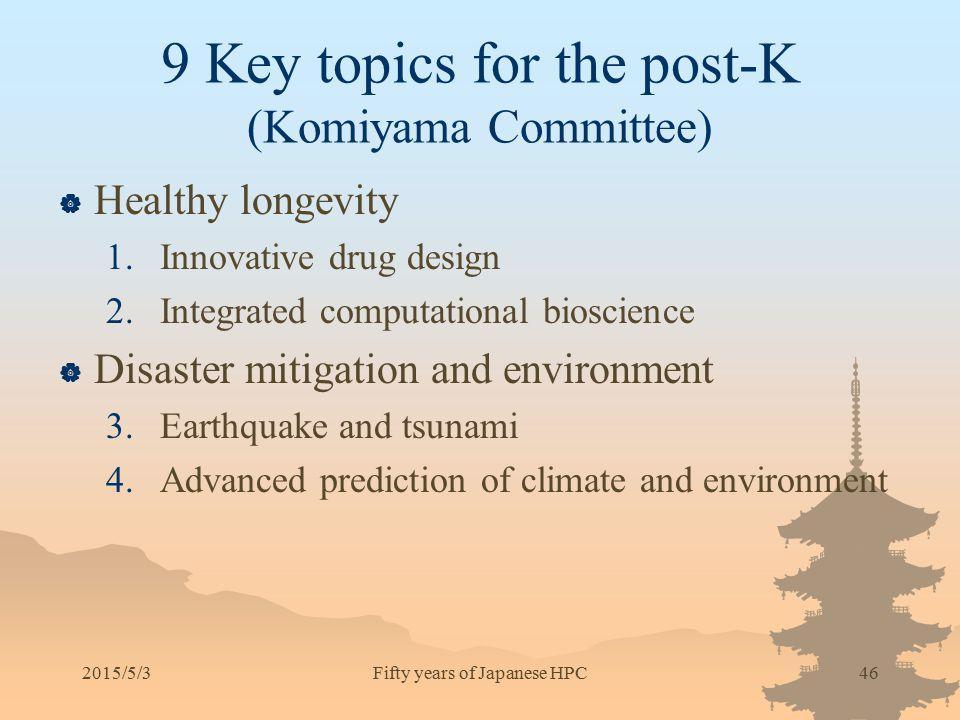 9 Key topics for the post-K (Komiyama Committee)  Healthy longevity 1.Innovative drug design 2.Integrated computational bioscience  Disaster mitigat