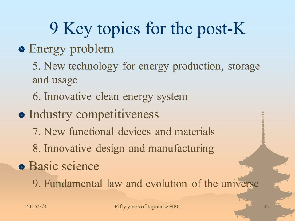 9 Key topics for the post-K  Energy problem 5. New technology for energy production, storage and usage 6. Innovative clean energy system  Industry c