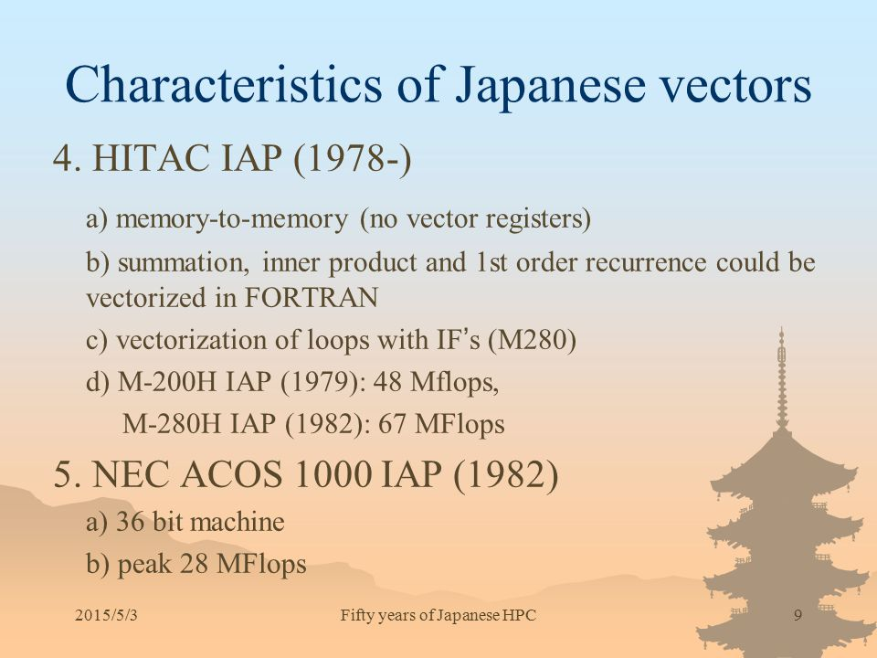 Characteristics of Japanese vectors 4. HITAC IAP (1978-) a) memory-to-memory (no vector registers) b) summation, inner product and 1st order recurrenc