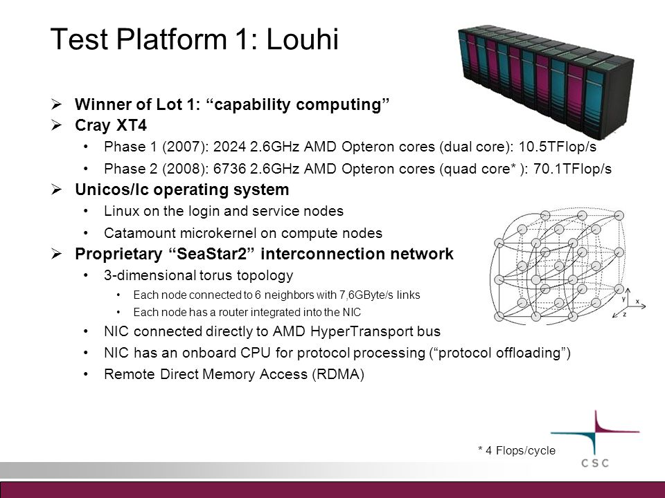 Test Platform 1: Louhi  Winner of Lot 1: capability computing  Cray XT4 Phase 1 (2007): 2024 2.6GHz AMD Opteron cores (dual core): 10.5TFlop/s Phase 2 (2008): 6736 2.6GHz AMD Opteron cores (quad core* ): 70.1TFlop/s  Unicos/lc operating system Linux on the login and service nodes Catamount microkernel on compute nodes  Proprietary SeaStar2 interconnection network 3-dimensional torus topology Each node connected to 6 neighbors with 7,6GByte/s links Each node has a router integrated into the NIC NIC connected directly to AMD HyperTransport bus NIC has an onboard CPU for protocol processing ( protocol offloading ) Remote Direct Memory Access (RDMA) * 4 Flops/cycle