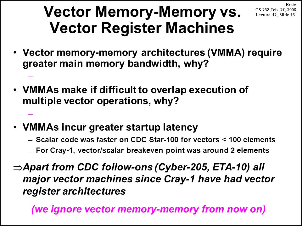 Krste CS 252 Feb. 27, 2006 Lecture 12, Slide 16 Vector Memory-Memory vs. Vector Register Machines Vector memory-memory architectures (VMMA) require gr