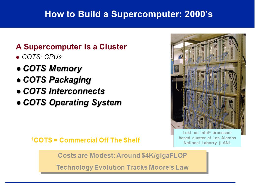 Loki: an Intel ® processor based cluster at Los Alamos National Laborry (LANL How to Build a Supercomputer: 2000's A Supercomputer is a Cluster COTS 1 CPUs Costs are Modest: Around $4K/gigaFLOP Technology Evolution Tracks Moore's Law Costs are Modest: Around $4K/gigaFLOP Technology Evolution Tracks Moore's Law 1 COTS = Commercial Off The Shelf COTS Memory COTS Memory COTS Packaging COTS Packaging COTS Interconnects COTS Interconnects COTS Operating System COTS Operating System