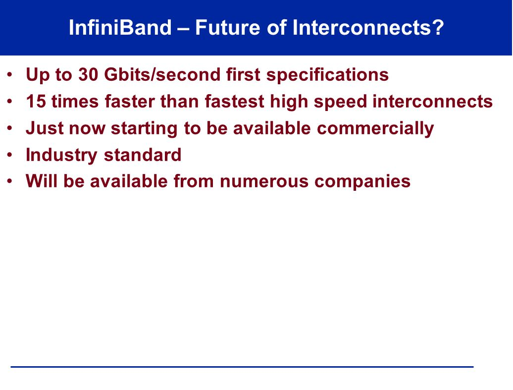 InfiniBand – Future of Interconnects.