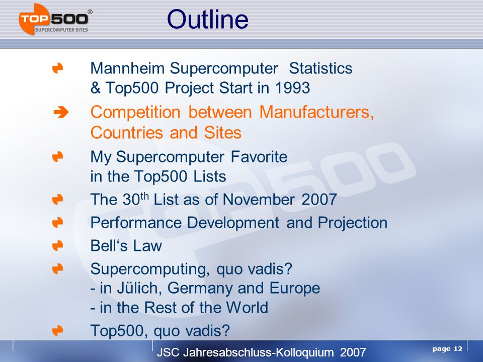 JSC Jahresabschluss-Kolloquium 2007 page 12 Mannheim Supercomputer Statistics & Top500 Project Start in 1993  Competition between Manufacturers, Countries and Sites My Supercomputer Favorite in the Top500 Lists The 30 th List as of November 2007 Performance Development and Projection Bell's Law Supercomputing, quo vadis.