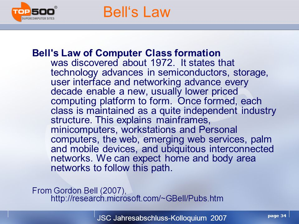 JSC Jahresabschluss-Kolloquium 2007 page 34 Bell's Law Bell s Law of Computer Class formation was discovered about 1972.