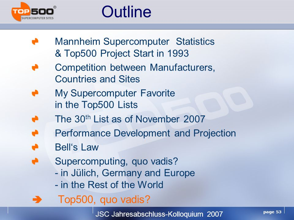 JSC Jahresabschluss-Kolloquium 2007 page 53 Mannheim Supercomputer Statistics & Top500 Project Start in 1993 Competition between Manufacturers, Countries and Sites My Supercomputer Favorite in the Top500 Lists The 30 th List as of November 2007 Performance Development and Projection Bell's Law Supercomputing, quo vadis.
