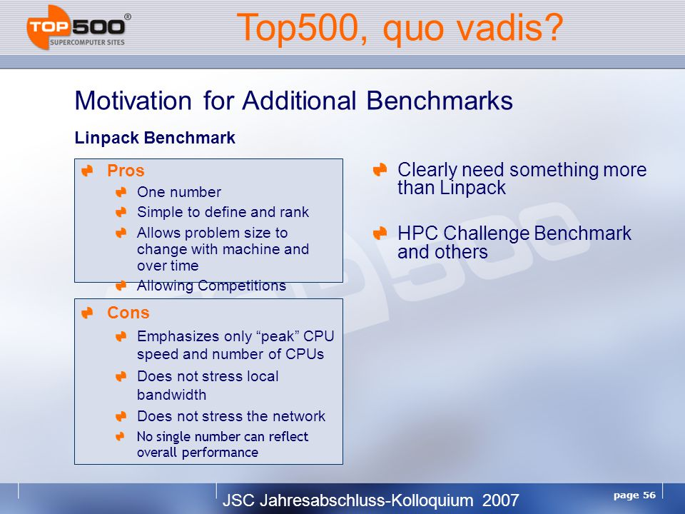 JSC Jahresabschluss-Kolloquium 2007 page 56 Motivation for Additional Benchmarks Clearly need something more than Linpack HPC Challenge Benchmark and others Cons Emphasizes only peak CPU speed and number of CPUs Does not stress local bandwidth Does not stress the network No single number can reflect overall performance Top500, quo vadis.