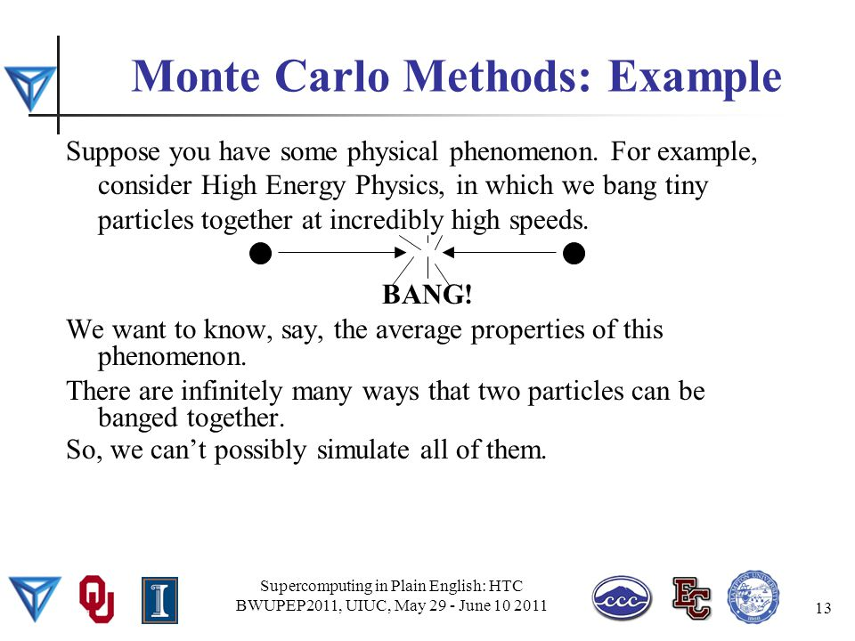 Monte Carlo Methods: Example Suppose you have some physical phenomenon.