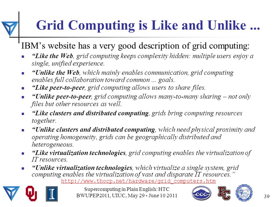 Grid Computing is Like and Unlike...