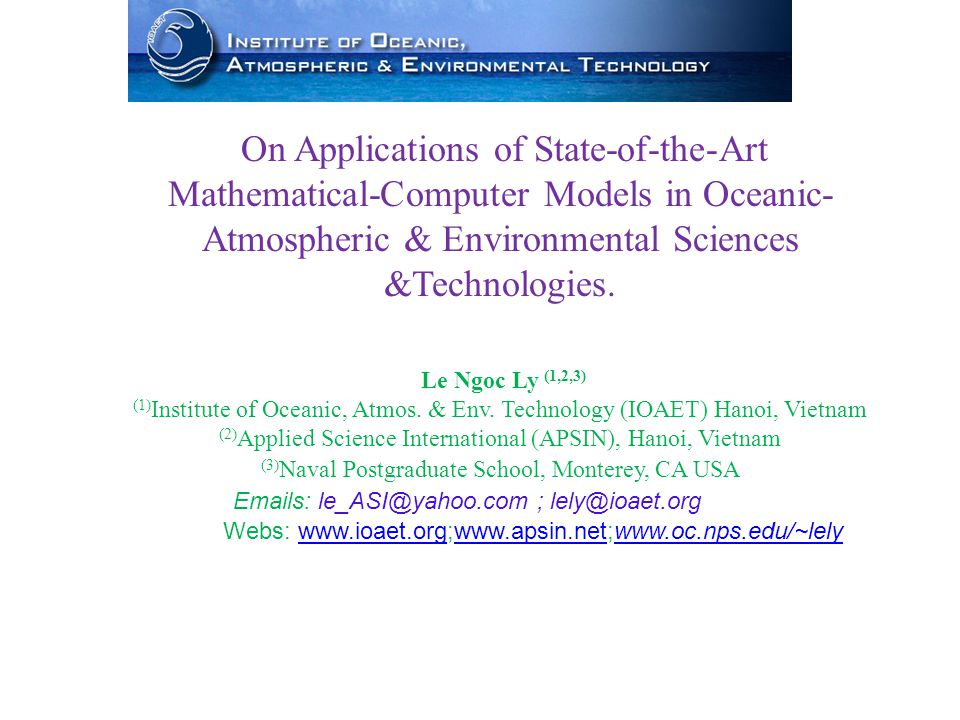 Le Ngoc Ly (1,2,3) (1) Institute of Oceanic, Atmos.